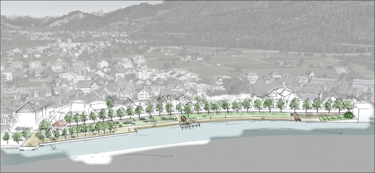 Attraktives Seeufer mit neuen Sitzstufen und schattenspendenden Bäumen